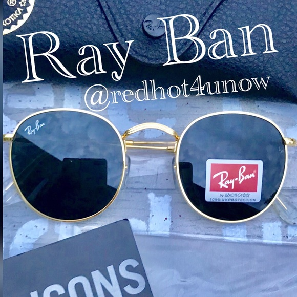 6d10073eaf6 💯Ray Ban Sunglasses RB3447 Black   Gold Round